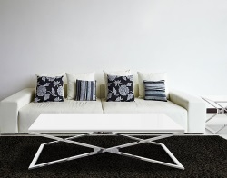 COFFEE TABLE OXANA WHITE LACQUERED POLISHED STAINLESS STEEL 130x80x34 CM (CT104LW)