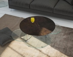 COFFEE TABLE ROUND STEEL CERAMICS CHROMED STEEL 80(118)x80x45 CM (CT127SD)
