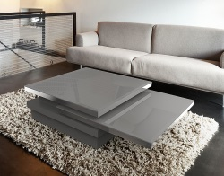 COFFEE TABLE SIGMA LACQUERED GREY GLASS, POLISHED STAINLESS STEEL 120x80x33 CM (CT090G)