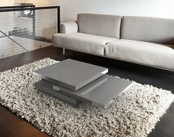 COFFEE TABLE SIGMA LACQUERED GREY GLASS, POLISHED STAINLESS STEEL 90x60x35 CM (CT110G)