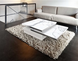 COFFEE TABLE SIGMA MAT MARBLE CERAMICS GLASS, BRUSHED STAINLESS STEEL 120x80x33 CM (CT090MA)