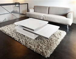 COFFEE TABLE SIGMA WHITE ACID ETCHED GLASS, BRUSHED STAINLESS STEEL 120x80x33 CM (CT090LWA)