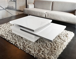 COFFEE TABLE SIGMA WHITE LACQUERED GLASS, POLISHED STAINLESS STEEL 120x80x33 CM (CT090W)