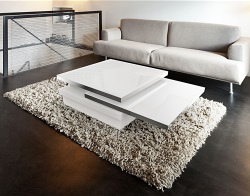 COFFEE TABLE SIGMA WHITE LACQUERED GLASS, POLISHED STAINLESS STEEL 90x60x35 CM (CT110W)