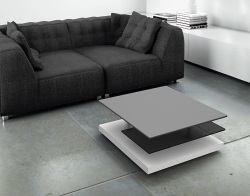 COFFEE TABLE SOPHIA GREY CERAMICS MDF LACQUERED AND CHROMED STEEL 72x72x38 CM (CT140CG)
