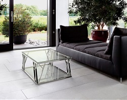 COFFEE TABLE SPARTA CRYSTAL POLISHED STAINLESS STEEL 105x60x35 CM (CT086R)