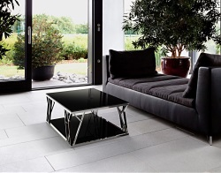 COFFEE TABLE SPARTA LACQUERED BLACK POLISHED STAINLESS STEEL 105x60x35 CM (CT086LB)