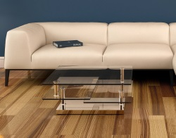 COFFEE TABLE SQUARE CLEAR CHROMED STEEL 80(118)x40 CM (CT128C)