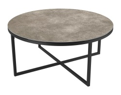 COFFEE TABLE TALIA LAQUÉ ARGILE CERAMICS BLACK LACQUERED STEEL Ø90x40 CM (CT022AR)