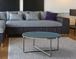 COFFEE TABLE TALIA BLUE TINTED ACID ETCHED POLISHED STAINLESS STEEL Ø90x40 CM (CT023BA)