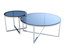 COFFEE TABLE TALIA BLUE TINTED POLISHED STAINLESS STEEL Ø90x40 CM (CT023B)