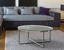 COFFEE TABLE TALIA CLEAR POLISHED STAINLESS STEEL Ø90x40 CM (CT023C)