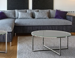 COFFEE TABLE TALIA SAND BLASTED POLISHED STAINLESS STEEL Ø90x40 CM (CT023S)