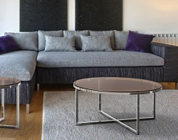 COFFEE TABLE TALIA SEPIA POLISHED STAINLESS STEEL Ø90x40 CM (CT023P)