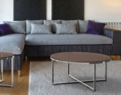 COFFEE TABLE TALIA SEPIA TINTED ACID ETCHED POLISHED STAINLESS STEEL Ø90x40 CM (CT023PA)