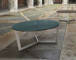 COFFEE TABLE TAMARA BLUE TINTED ACID ETCHED BRUSHED STAINLESS STEEL Ø90x40 CM (CT043BA)