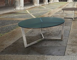 COFFEE TABLE TAMARA BLUE TINTED ACID ETCHED POLISHED STAINLESS STEEL Ø90x40 CM (CT033BA)
