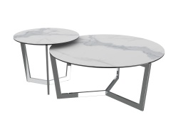 COFFEE TABLE TAMARA MAT MARBLE CERAMICS POLISHED STAINLESS STEEL Ø90x40 CM (CT033MA)