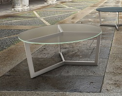 COFFEE TABLE TAMARA SAND BLASTED BRUSHED STAINLESS STEEL Ø90x40 CM (CT043S)