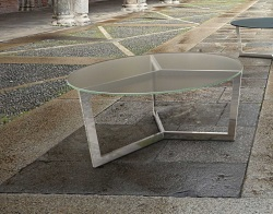 COFFEE TABLE TAMARA SAND BLASTED POLISHED STAINLESS STEEL Ø90x40 CM (CT033S)