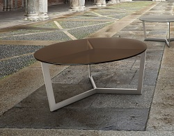COFFEE TABLE TAMARA SEPIA TINTED ACID ETCHED BRUSHED STAINLESS STEEL Ø90x40 CM (CT043PA)