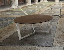 COFFEE TABLE TAMARA SEPIA TINTED ACID ETCHED POLISHED STAINLESS STEEL Ø90x40 CM (CT033PA)