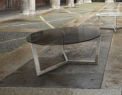 COFFEE TABLE TAMARA TINTED GREY POLISHED STAINLESS STEEL Ø90x40 CM (CT033G)