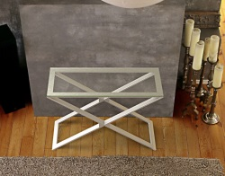 CONSOLE TABLE ALEXA CLEAR BRUSHED STAINLESS STEEL 100x38x72 CM (ST018C)
