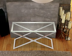 CONSOLE TABLE ALEXA CLEAR POLISHED STAINLESS STEEL 120x41x72 CM (ST008C)