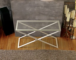 CONSOLE TABLE ALEXA CRYSTAL BRUSHED STAINLESS STEEL 120x41x72 CM (ST012R)