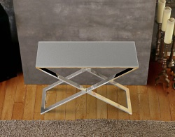 CONSOLE TABLE ALEXA GREY ACID ETCHED POLISHED STAINLESS STEEL 100x38x72 CM (ST017LGA)