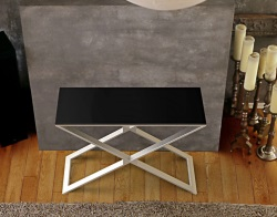 CONSOLE TABLE ALEXA LACQUERED BLACK BRUSHED STAINLESS STEEL 100x38x72 CM (ST018LB)