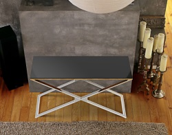CONSOLE TABLE ALEXA LACQUERED BLACK POLISHED STAINLESS STEEL 120x41x72 CM (ST008LB)