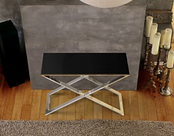 CONSOLE TABLE ALEXA LACQUERED BLACK POLISHED STAINLESS STEEL 100x38x72 CM (ST017LB)