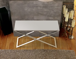 CONSOLE TABLE ALEXA LACQUERED GREY BRUSHED STAINLESS STEEL 120x41x72 CM (ST012LG)