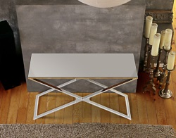 CONSOLE TABLE ALEXA LACQUERED GREY POLISHED STAINLESS STEEL 120x41x72 CM (ST008LG)