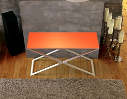 CONSOLE TABLE ALEXA LACQUERED ORANGE BRUSHED STAINLESS STEEL 120x41x72 CM (ST012LO)