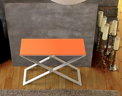 CONSOLE TABLE ALEXA LACQUERED ORANGE BRUSHED STAINLESS STEEL 100x38x72 CM (ST018LO)