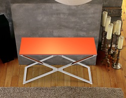 CONSOLE TABLE ALEXA LACQUERED ORANGE POLISHED STAINLESS STEEL 120x41x72 CM (ST008LO)