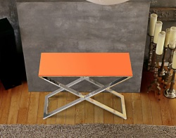 CONSOLE TABLE ALEXA LACQUERED ORANGE POLISHED STAINLESS STEEL 100x38x72 CM (ST017LO)