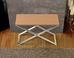CONSOLE TABLE ALEXA SANDSTONE BROWN BRUSHED STAINLESS STEEL 100x38x72 CM (ST018GB)