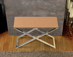 CONSOLE TABLE ALEXA SANDSTONE BROWN POLISHED STAINLESS STEEL 100x38x72 CM (ST017GB)