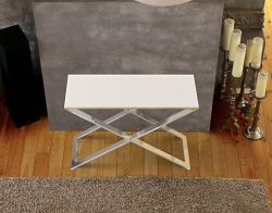 CONSOLE TABLE ALEXA WHITE ACID ETCHED POLISHED STAINLESS STEEL 100x38x72 CM (ST017LWA)