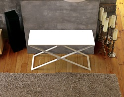 CONSOLE TABLE ALEXA WHITE LACQUERED BRUSHED STAINLESS STEEL 120x41x72 CM (ST012LW)