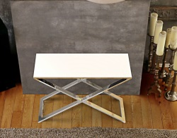 CONSOLE TABLE ALEXA WHITE LACQUERED POLISHED STAINLESS STEEL 100x38x72 CM (ST017LW)