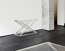 CONSOLE TABLE AMARA CLEAR POLISHED STAINLESS STEEL 106x44x70 CM (ST016C)