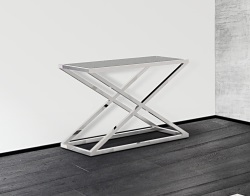 CONSOLE TABLE AMARA GREY ACID ETCHED POLISHED STAINLESS STEEL 106x44x70 CM (ST016LGA)