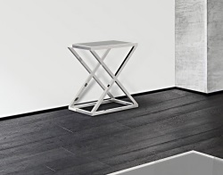 CONSOLE TABLE AMARA LACQUERED GREY POLISHED STAINLESS STEEL 62x40x70 CM (ST007LG)