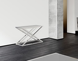 CONSOLE TABLE AMARA LACQUERED GREY POLISHED STAINLESS STEEL 106x44x70 CM (ST016LG)