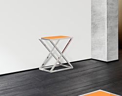 CONSOLE TABLE AMARA LACQUERED ORANGE POLISHED STAINLESS STEEL 62x40x70 CM (ST007LO)